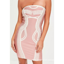 Short Pink Bandeau Piped Detail Dress