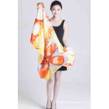 100% de seda impresso Shawl Ladies Fashion cachecol tela impressa cachecol