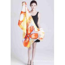 Écharpe imprimée d'écran de foulard de mode de dames de châle imprimé par soie de 100%