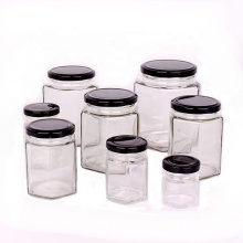 Wholesale all size hexagon shaped glass jar for honey jam storage with metal lug lid