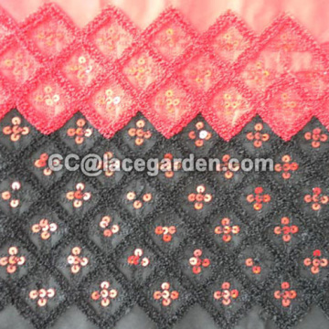 Chain Embroidery Fabric in Diamond Design