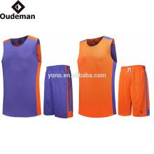 fábrica atacado malha em branco basquete jerseys set / reversível uniforme de basquete conjunto