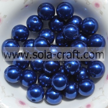 Fashionable Acrylic Pearl Craft Beads Bracelet Spacer Charm Blue Color 6MM For Christmas Garland