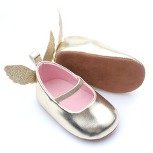 2018 Gold Wing Angel Baby Girl Dress Shoes
