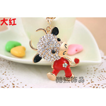Creative cute Cow crystal key chain bag hanger rhinestone metal key ring various colors enamel ladies fashion accessories