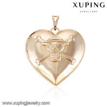 32205-Xuping skull design jóias moda 18 k banhado a ouro medalhão pingente para presente das mulheres