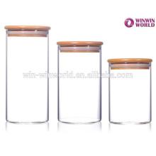 Grand couvercle en bambou de pot de stockage en verre hermétique de Homeware