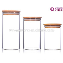 Large Airtight Homeware Glass Storage Jar Bamboo Lid