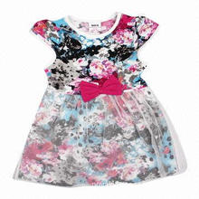 Cream summer kids wear wholesale polyester girl dress with printed patterns