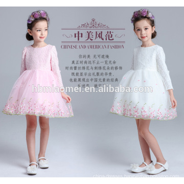 Long seelve white and pink color winter lace girl daily wear dress wholesale