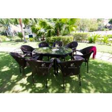 Hot Design Poly Rattan Coffee and Dining Set Jardim Móveis de vime