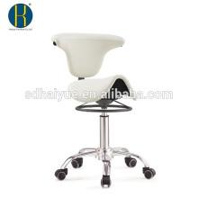 Taburete del salón de belleza del cuero sintético blanco de la mejor calidad con el mecanismo del metal