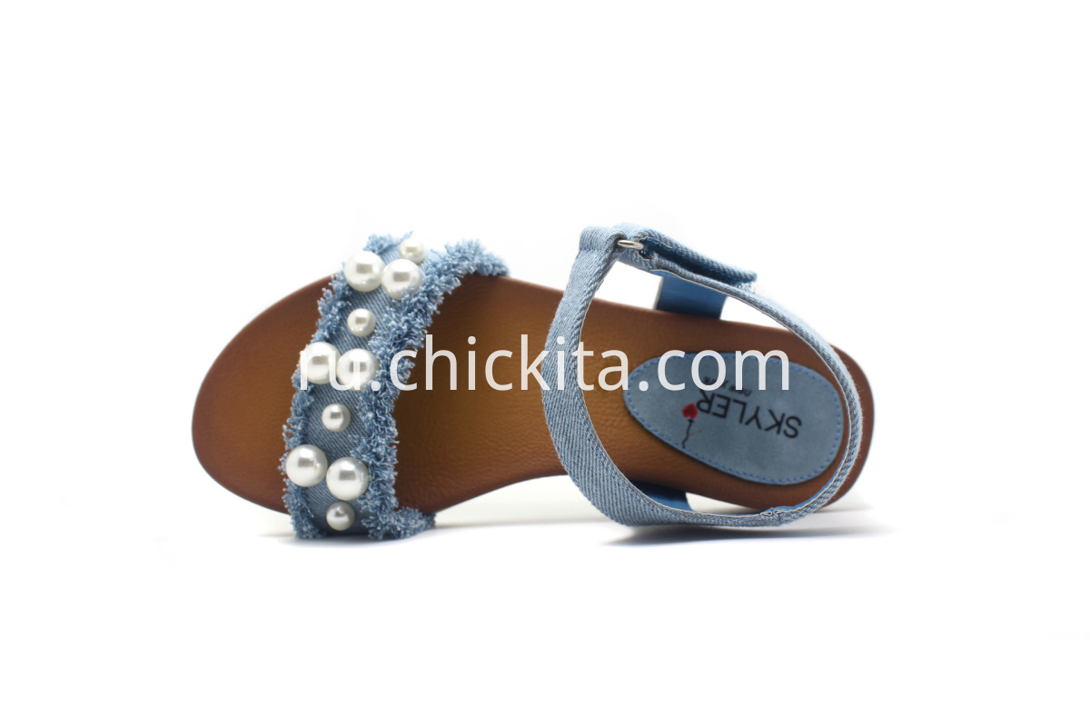Children sandals With Pearl embellishment on popular denim material upper