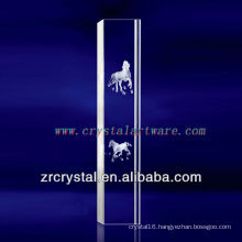 K9 3D Laser Horse Etched Crystal with Pillar Shape
