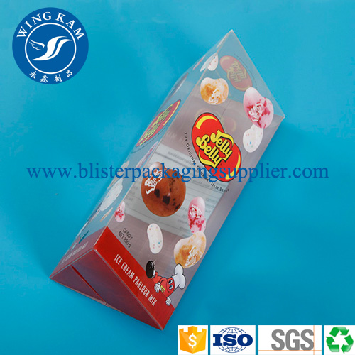 Colorful Cube Plastic Folding Packaging with Red Triangle Bottom