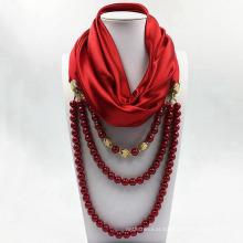 Venda quente senhora moda poliéster quadrado cachecol contas colar de pingente de jóias embelezado cachecol