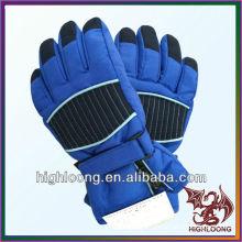 Wholesale Men's Bule Nylon Taslon Waterproof Adjustable Ski Gloves Manufacturer