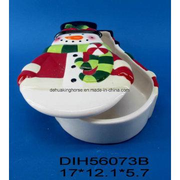 Caixa de bolinhas cerâmica em forma de boneco de mão pintada à mão