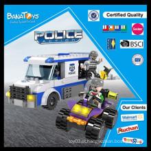 Carro de polícia plástico do bloco de construção do presente do miúdo educacional