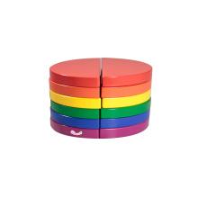 Деревянные строительные блоки в 6 цветных круглых блоках