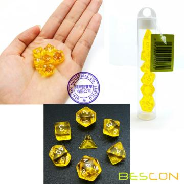 Bescon Mini Polyédrique Translucide RPG Dice Set 10MM, Petit jeu de rôle RPG Jeu Dice Set D4-D20 en Tube, Jaune Transparent