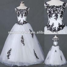 Applique Tulle com vestido de casamento de manga curta