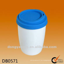 Personalizado isolar copo de porcelana térmica de parede dupla quente com tampa de silicone