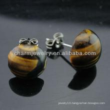 Natural Tiger eye Round Stud Earrings EF-015