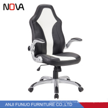 Nova Office Adjustable Armrest black and white Leather Comfort Racing Staff Chair Reception Waiting Room Office Chairs