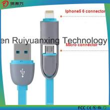 2 en 1 cable de carga USB, carga de teléfono a teléfono