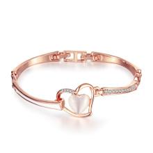 Fashion Rose Gold Plated Heart Shape Czech Drill Opal Pendant Bracelet Charm Jewelry