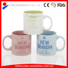 18oz Colored Straight Body Ceramic Mug with Family Design