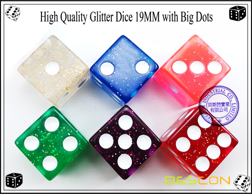 High Quality Glitter Dice 19MM with Big Dots-2