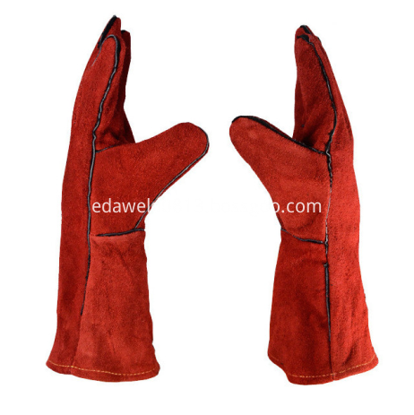 Red Leather 35cm Welding Gloves