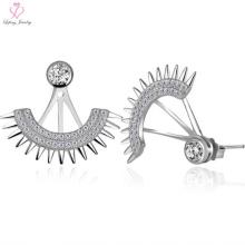 Brincos elegantes do parafuso prisioneiro do fã da prata esterlina 925 com diamante