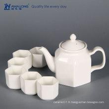 Chine Awalong stock pure blanc unique design moderne forme hexagonale théière en os chine théière thé et ensemble de soucoupe