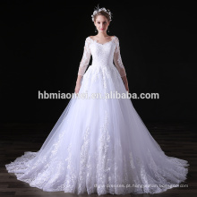 Laço bonito Appliqued manga comprida vestido de casamento branco elegante vestido de manga longa