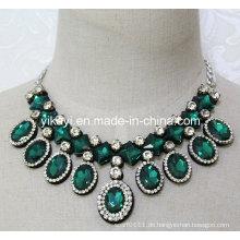 Frauen Fashion Grün Oval Glas Kristall Anhänger Kragen Halskette (JE0203)