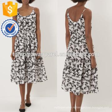 Новая мода черный рукавов V-образным вырезом печатных платье Производство Оптовая продажа женской одежды (TA5246D)