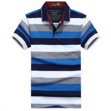 Custom High Quality Men′s Mixed Color Striped Polo Shirt