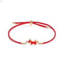 Stainless Steel Dog Charm Cord Braided Red String Bracelet