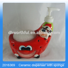 Creative strawberry shaped ceramic cleanser bottle with sponge holder for kitchen