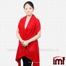 Damen rote Farbe Kaschmir Poncho kintted Patten Schal