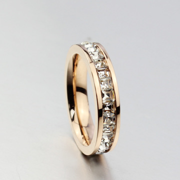 Ladies Fashion Cincin Tunggal Perhiasan Disesuaikan CZ Rings