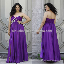 Purple Plus Size Prom Dress 2014 Sweetheart Full-Length Criss Cross gefaltete Perlen Top Front Slit Lace-up Chiffon Reich NB0903