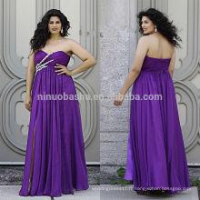 Purple Plus Size Robe de bal 2014 Sweetheart Plein-longueur Criss Cross plissé Top Front Slit Lace-up Chiffon Empire NB0903