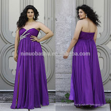 Purple Plus Size Prom Dress 2014 Sweetheart Full-Length Criss Cross Pleated Beaded Top Front Slit Lace-up Chiffon Empire NB0903