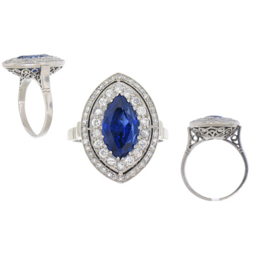 925 Sterling Silver Ring Jewellery with Blue Stone
