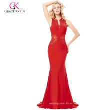 Grace Karin Grace Karin palabra de longitud sin mangas con cuello en V ahuecado espalda elegante elegante alto vestido de noche rojo largo GK000121-2