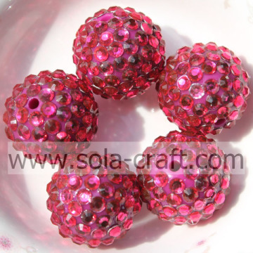 Acrylic Resin Rhinestone Rose Beads 18*20MM For DIY Jewelry Making